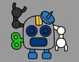 Disegno Robot con antenna pitturato su Luca