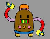 Disegno Robot con braccia lunghe pitturato su Alex
