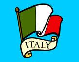 Disegno Bandiera d'Italia pitturato su dimartino