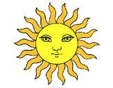Disegno Sole  pitturato su diego