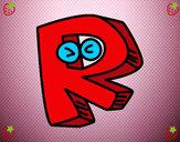 Disegno Lettera R pitturato su rocksana