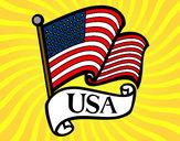 Disegno Bandiera degli Stati Uniti pitturato su nicoemma