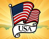 Disegno Bandiera degli Stati Uniti pitturato su lella