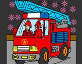 Disegno Camion dei Pompieri  pitturato su 22st