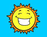 Disegno Sole contento  pitturato su 22st