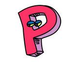 Disegno Lettera P pitturato su alice