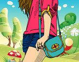 Disegno Ragazza con borsa pitturato su Love1D