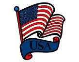 Disegno Bandiera degli Stati Uniti pitturato su annaballer