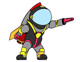 Disegno Astronauta con razzo pitturato su isma