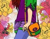 Disegno Ragazza con borsa pitturato su helena