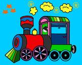 Disegno Locomotiva a vapore pitturato su clelia