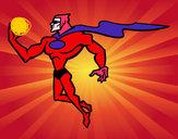 Disegno Supereroi potente pitturato su goldchild