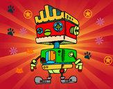 Disegno Robot con moicana pitturato su stellina