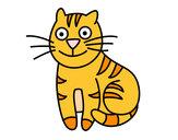 Disegno Gatto simpatico pitturato su nicoemma