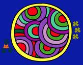 Disegno Mandala rotondo pitturato su helena
