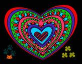Disegno Mandala cuore pitturato su helena