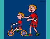 Disegno Triciclo pitturato su Acarcol