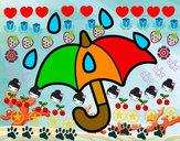 Disegno Ombrello aperto pitturato su Gaiac