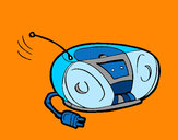 Disegno Radio cassette pitturato su Gaiac