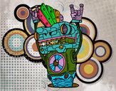 Disegno Robot Rock and roll pitturato su marcocatan