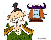 Disegno Samurai pitturato su ostrich
