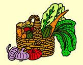 Disegno Cestino di verdure pitturato su _matty4_