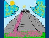 Disegno Chichén Itzá pitturato su fabri