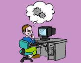 Disegno Informatico pensativo pitturato su Riccardo20