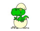 Disegno Dino emergenti da uovo pitturato su pirainoe
