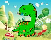 Disegno Sauropodo pitturato su pirainoe