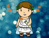 Disegno Giulio Cesare di bambino pitturato su --Mattia--