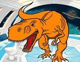 Disegno Dinosaure en colère pitturato su omarr