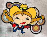 Disegno Mandriana contenta pitturato su alecarrara