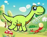 Disegno Diplodocus felice pitturato su PAPA