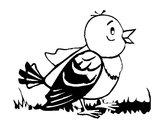 Disegno Uccellino  pitturato su clemy