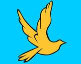 Disegno Colomba della pace in volo pitturato su rinoceront