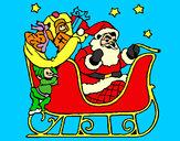 Disegno Babbo Natale alla guida della sua slitta pitturato su ALESSAN