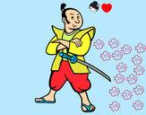 Disegno Samurai adulto pitturato su ALESSAN