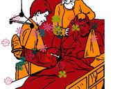 Disegno Bambino con una gamba fratturata  pitturato su carl