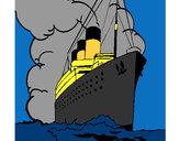 Disegno Nave a vapore pitturato su carl