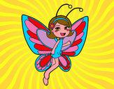 Disegno Fata farfalla contenta pitturato su ludo06