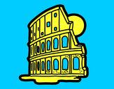 Disegno Anfiteatro Flavio pitturato su diegodago