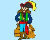 Disegno Pirata con il bottino  pitturato su faffa