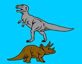 Disegno Triceratops e Tyrannosaurus Rex pitturato su GABRIEL17