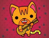 Disegno Gatto chitarrista pitturato su SHERY