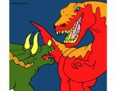 Disegno Lotta di dinosauri  pitturato su Achille