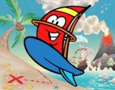 Tavola da windsurf felice