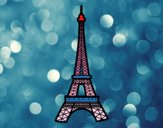 Disegno Torre Eiffel pitturato su scuitato