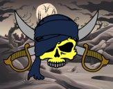 Disegno Simbolo pirata pitturato su Monci