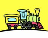 Disegno Treno con vagone pitturato su ciccino